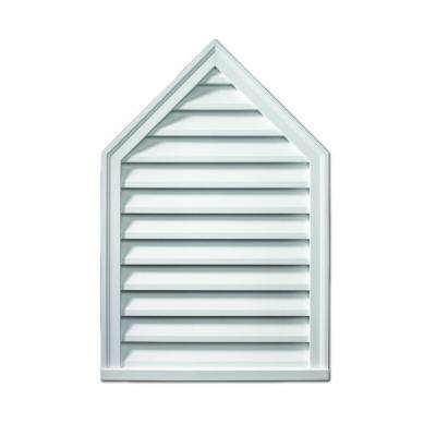 24 in. x 30 in. x 2 in. Polyurethane Functional Peaked Louver Gable Vent