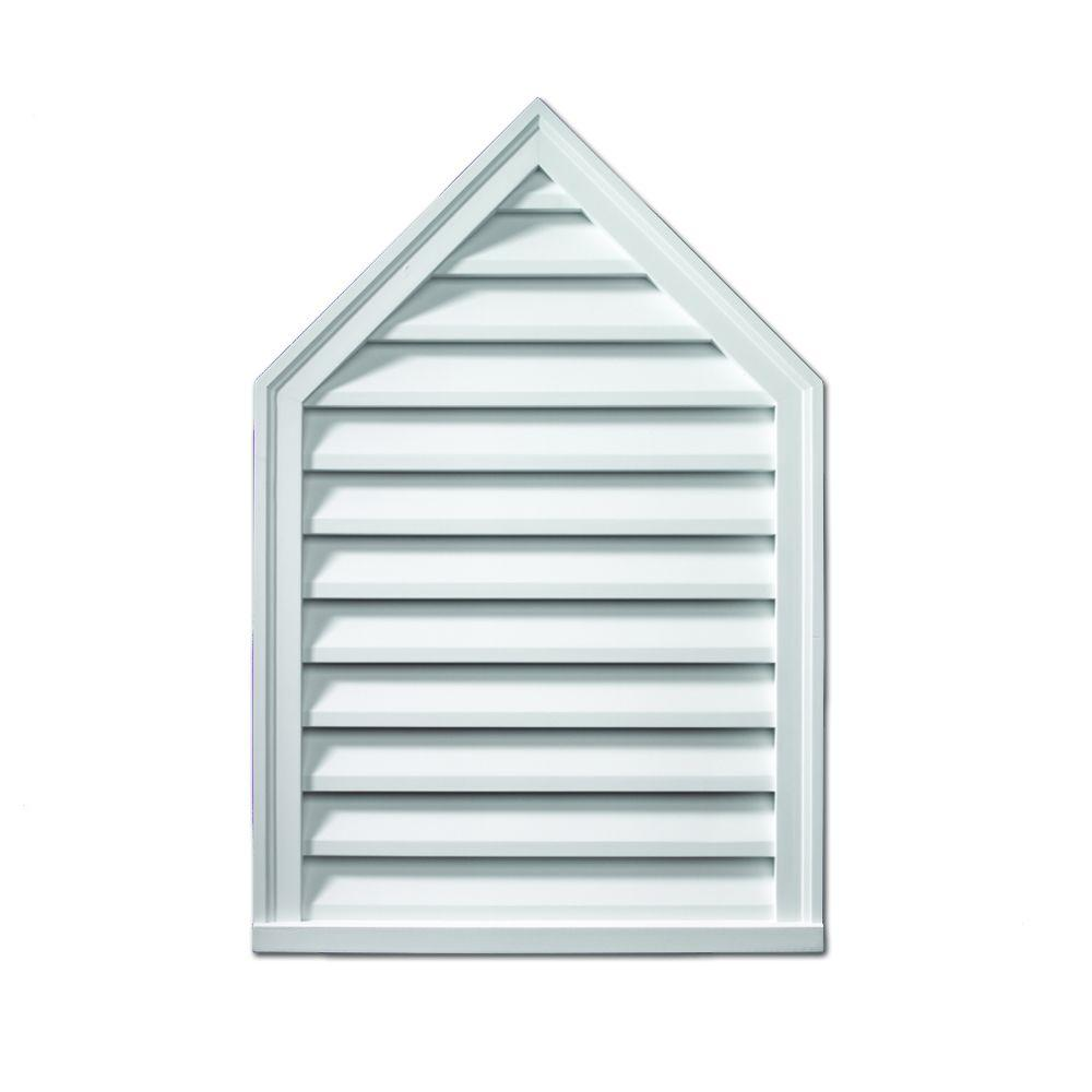 Fypon 24 in. x 36 in. x 2 in. Polyurethane Decorative Peaked Louver - Pitch 8/12