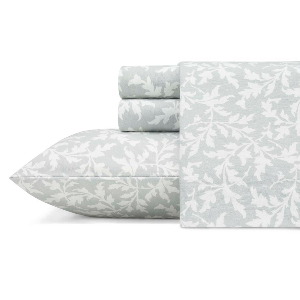 Laura Ashley Crestwood Grey 4 Piece Queen Cotton Flannel