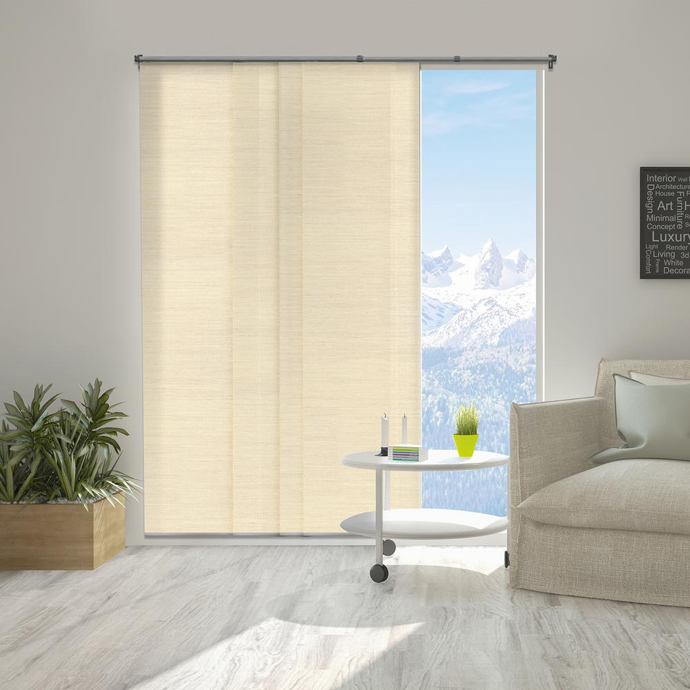 Panel Track Blinds Abaca Alabaster Polyester Cordless Vertical 80
