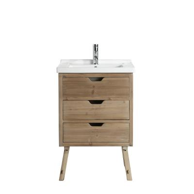 Fredric 24 in. W x 18.5 in. D Bath Vanity in Natural with Porcelain Vanity Top in White with White Basin