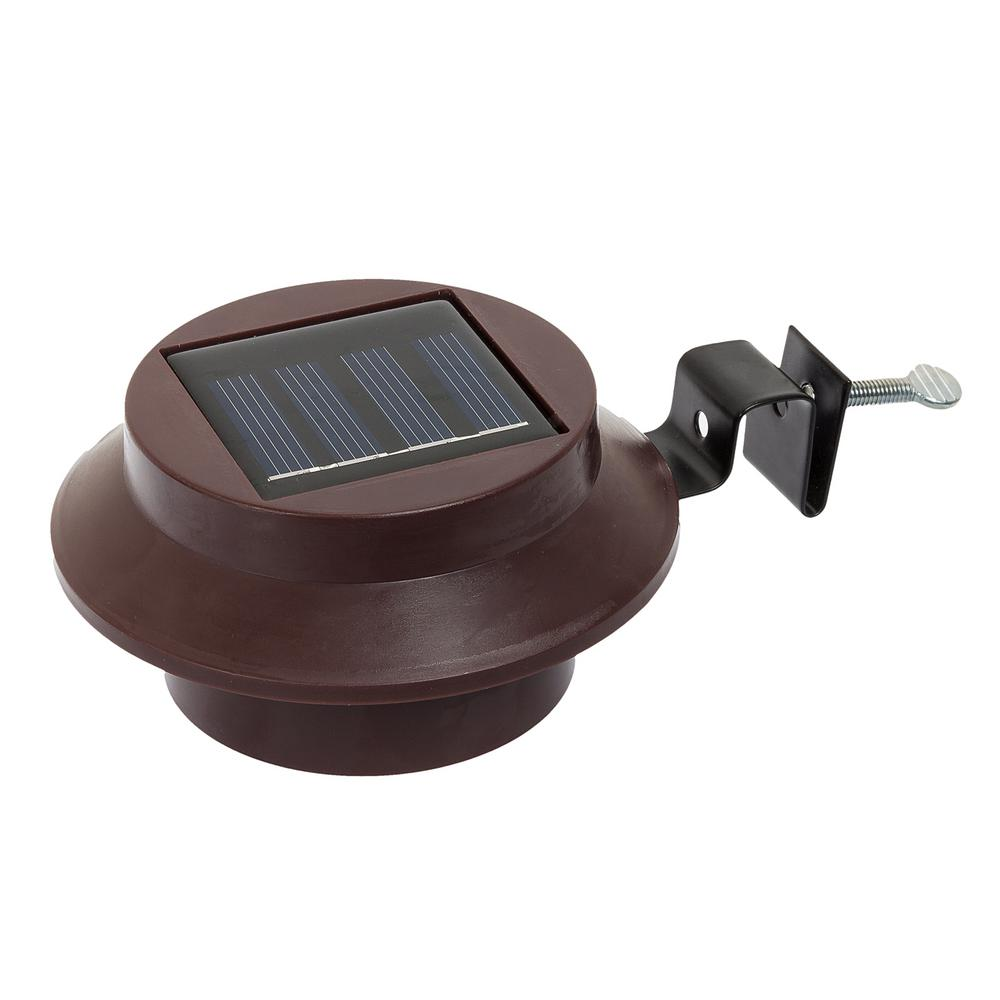 Solar Lights Roof: Brown Solar Powered Outdoor Integrated LED Landscape Roof