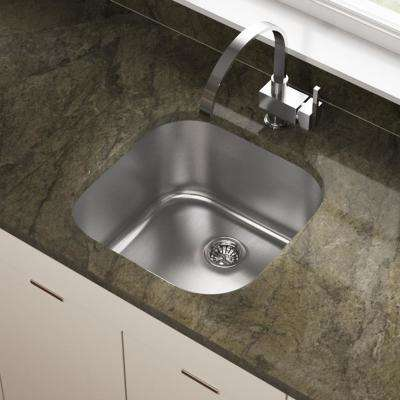 Undermount Stainless Steel 20 in. Single Bowl Bar Sink