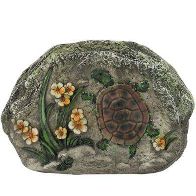 7 in. LED Lighted Solar Powered Turtle and Flowers Outdoor Garden Stone