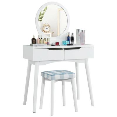 2-Drawer White Vanity Set with Round Mirror Cushioned Stool Makeup Dressing Table
