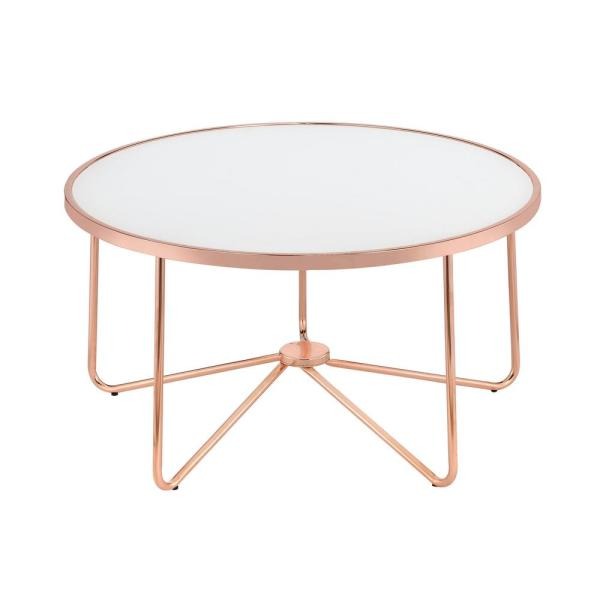 Merveilleux Venetian Worldwide Alivia Rose Gold And Frosted Glass Coffee Table