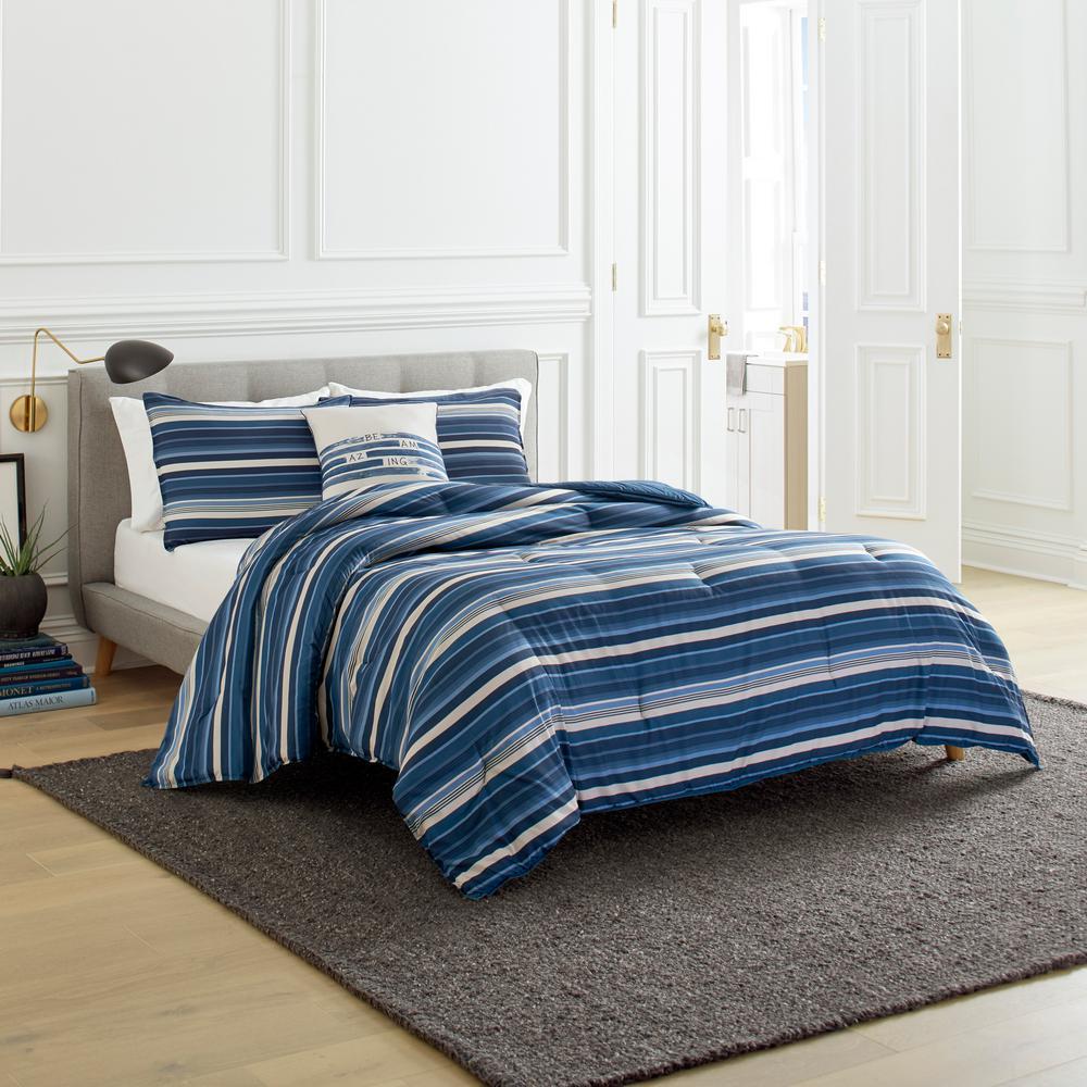 Horizon Stripe Blue 3-Piece Microfiber Comforter/Sham Set, King