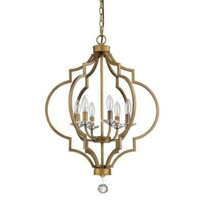 Peyton Indoor 6-Light Raw Brass Chandelier with Crystal Bobeches