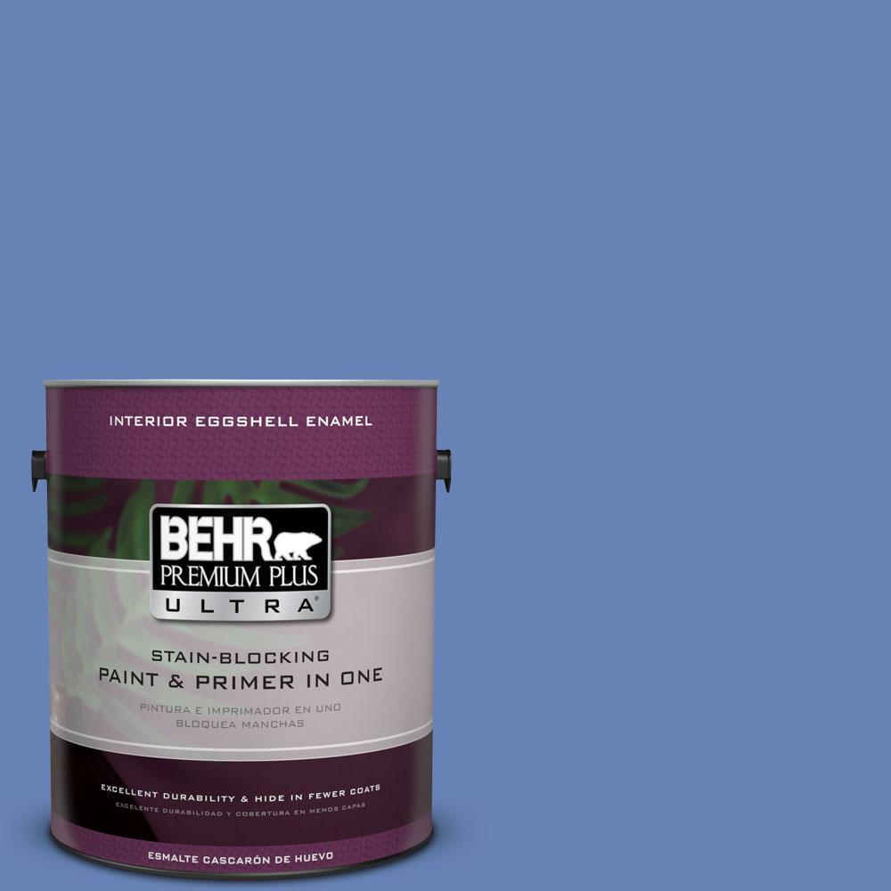 BEHR Premium Plus Ultra 1-gal. #PPU15-6 Neon Blue Eggshell Enamel Interior Paint