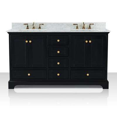 Audrey 60 in. W x 22 in. D Bath Vanity in Black Onyx with Marble Vanity Top in White with White Basin and Gold Hardware
