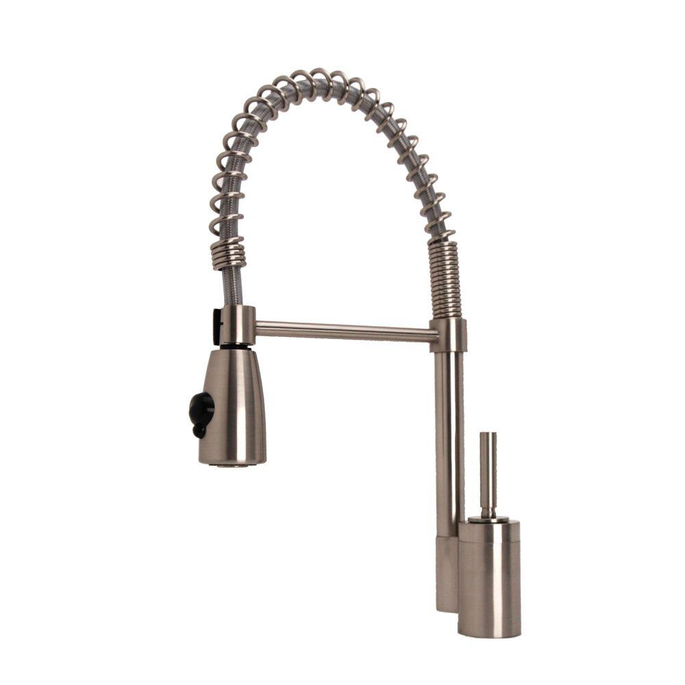 Fontaine Single-Handle Pull-Down Sprayer Kitchen Faucet in Brushed Nickel-DISCONTINUED
