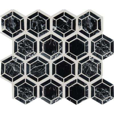 Hexagono Nero 13.25 in. x 11.5 in. x 10 mm Polished Marble Mesh-Mounted Mosaic Tile (10.6 sq. ft. / case)