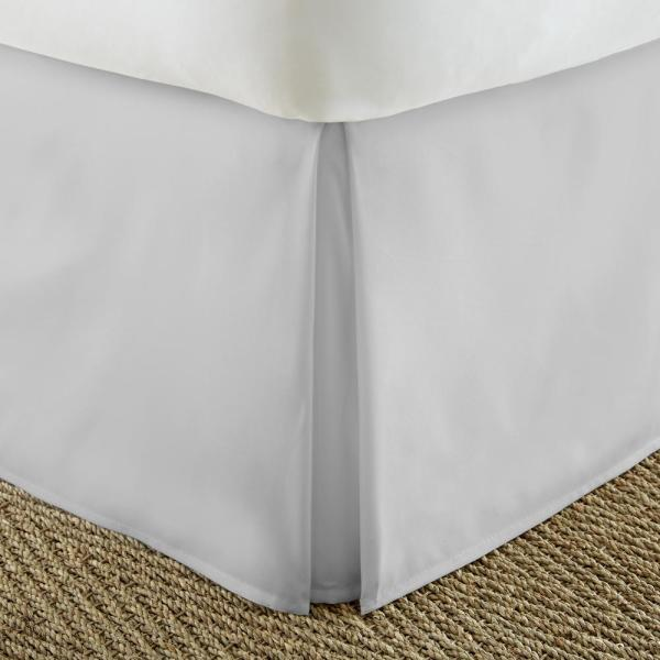 Becky Cameron Pleated Dust Ruffle Light Gray King Performance Bed Skirt