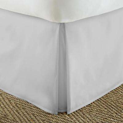 Pleated Dust Ruffle Light Gray Queen Performance Bed Skirt