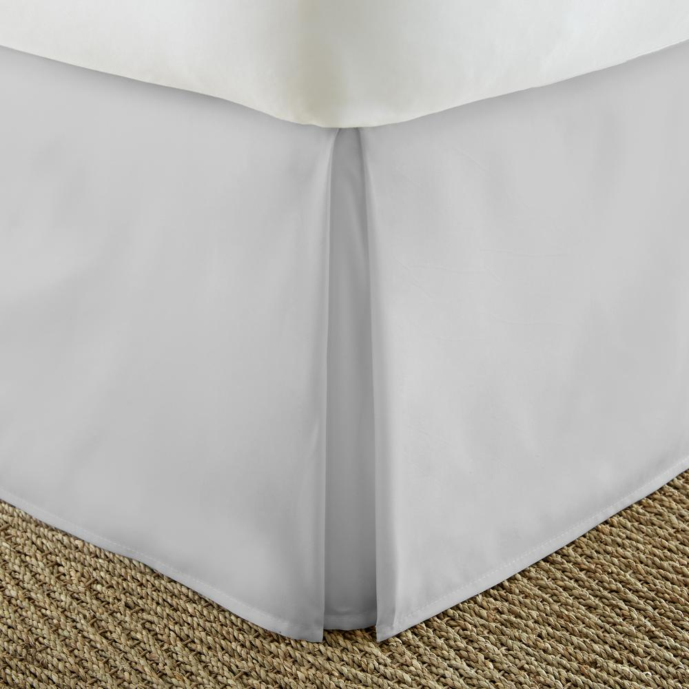 Pleated Dust Ruffle Light Gray Twin XL Performance Bed Skirt