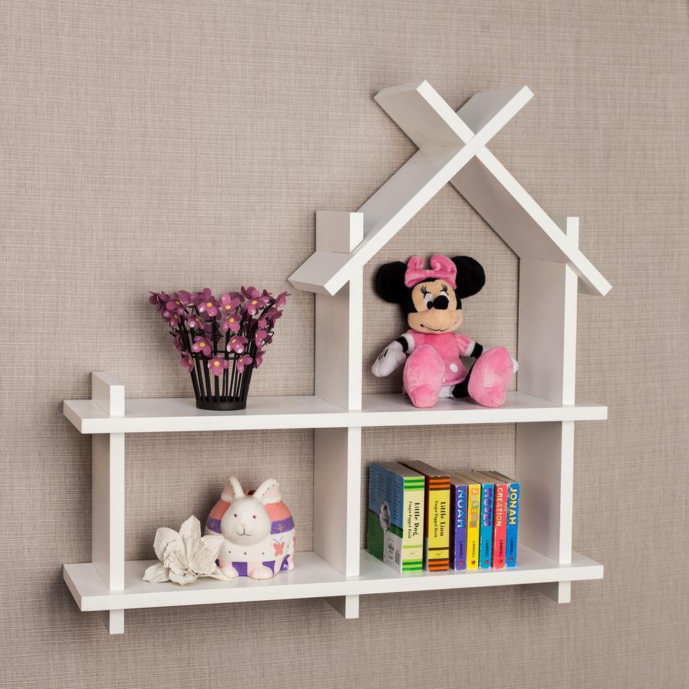danya b 24 in. x 24 in. white house design floating wall shelf House Shelf Designs