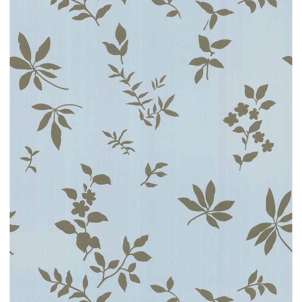 Brewster 8 in. W x 10 in. H Silhouette Leaves And Flowers Wallpaper Sample