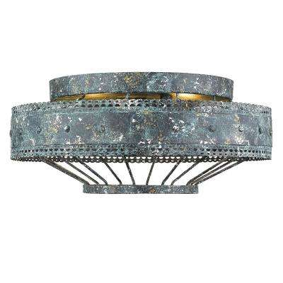 Ferris 2-Light Blue Verde Patina Flush Mount