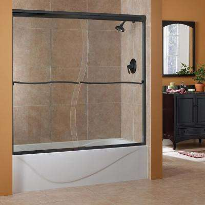 Cove 60 in. W x 60 in. H Frameless Sliding Tub Door in Oil Rubbed Bronze