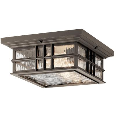 Beacon Square 2-Light Olde Bronze Outdoor Flush Mount Light with Clear Hammered Glass