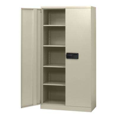 72 in. H x 36 in. W x 18 in. D 5-Shelf Steel Quick Assembly Keyless Electronic Coded Storage Cabinet in Putty