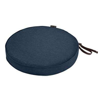 Montlake Fade Safe Heather Indigo 15 in. Round Outdoor Seat Cushion