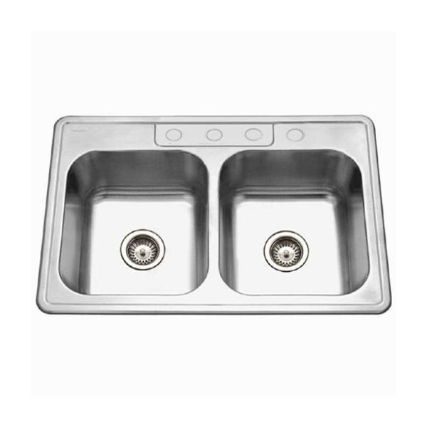 Glowtone Series Drop-In Stainless Steel 33 in. 4-Hole 50/50 Double Bowl Kitchen Sink in Satin