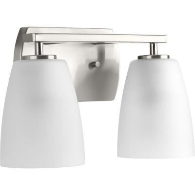 Leap Collection 2-Light Brushed Nickel Bath Light