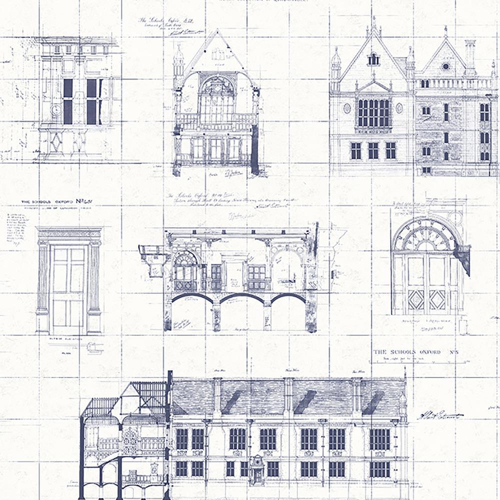Brewster Estcourt White Blueprint Wallpaper Sample-WP0090702SAM ...