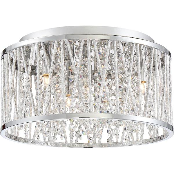 Crystal Cove 13.5 in. 4-Light Polished Chrome Flush Mount