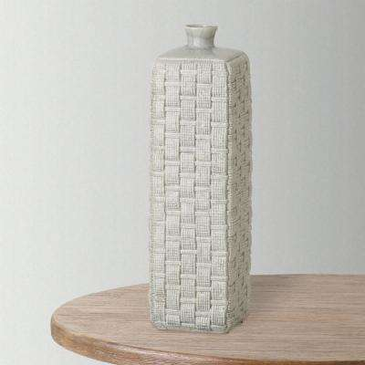 22.5 in. H Gray Decorative Square Woven Vase