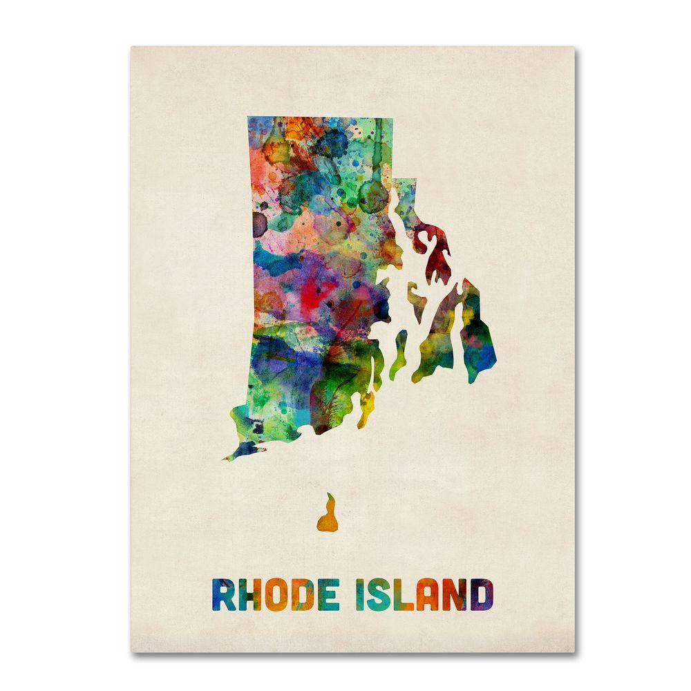 14 in. x 19 in. Rhode Island Map Canvas Art