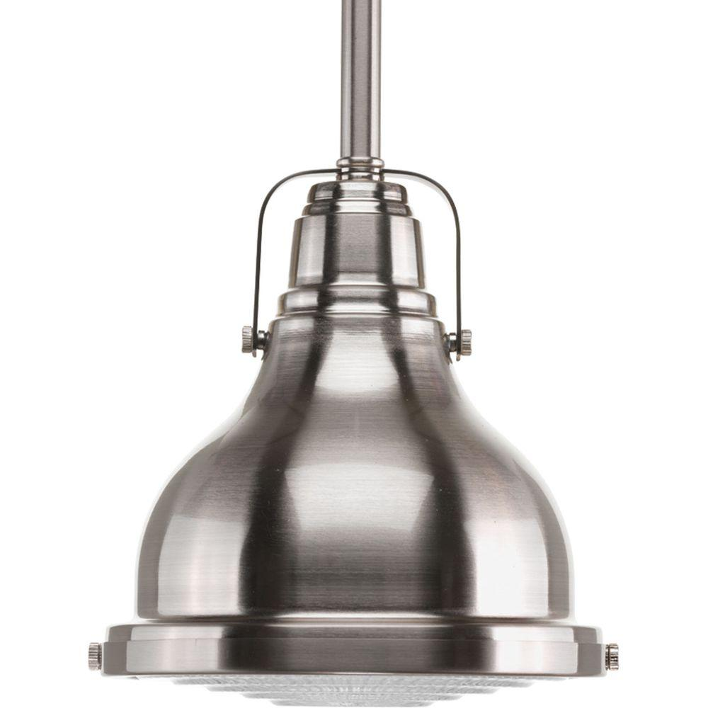 Fresnel Collection 1-Light Brushed Nickel Mini Pendant