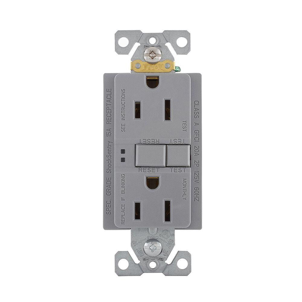 Eaton GFCI Self-Test 15A -125V Duplex Receptacle with Standard Size ...