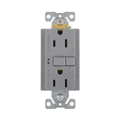 GFCI Self-Test 15A -125V Duplex Receptacle with Standard Size Wallplate, Gray