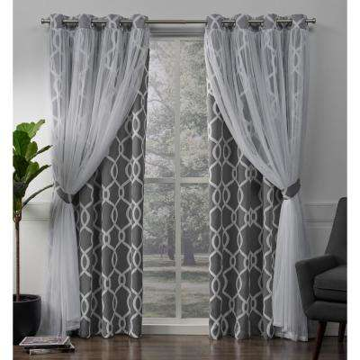 Carmela Charcoal Layered Geometric Blackout and Sheer Grommet Top Window Curtain
