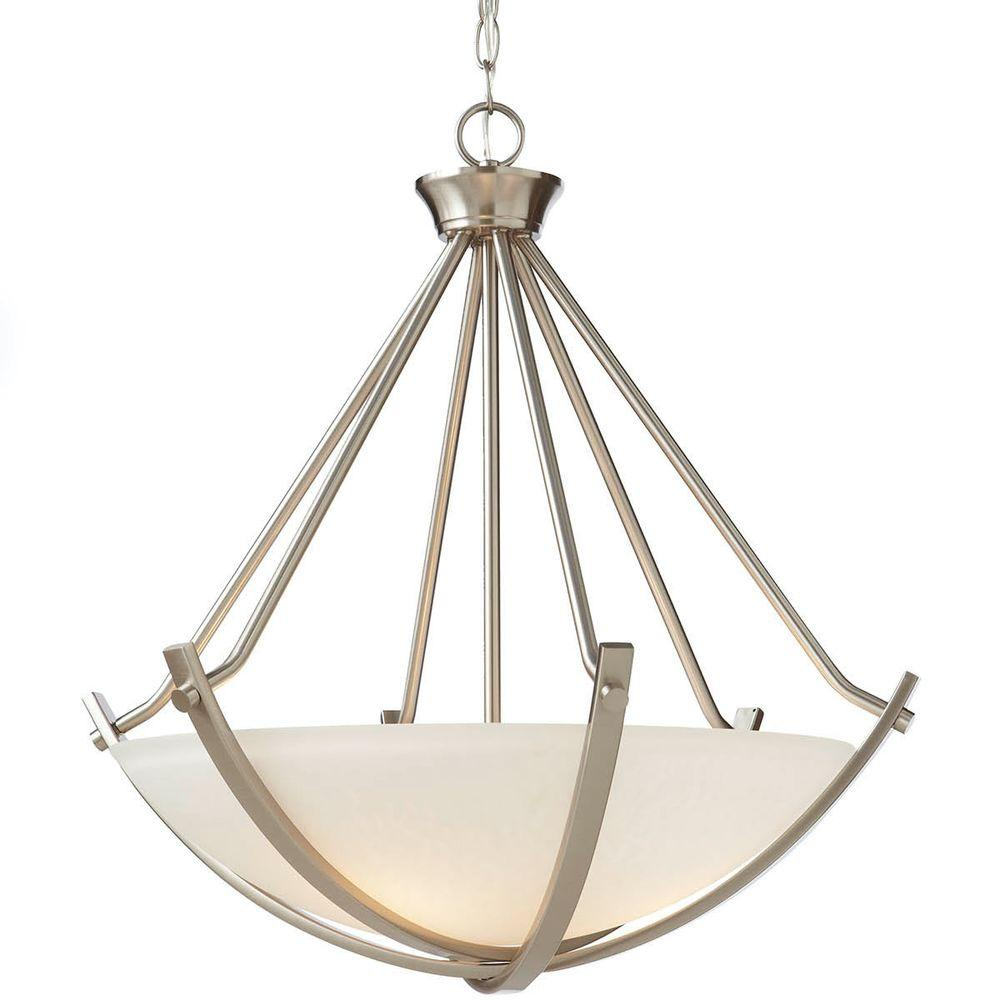 Home Decorators Collection 3-Light Brushed Nickel Foyer Pendant with Etched Hammered Glass