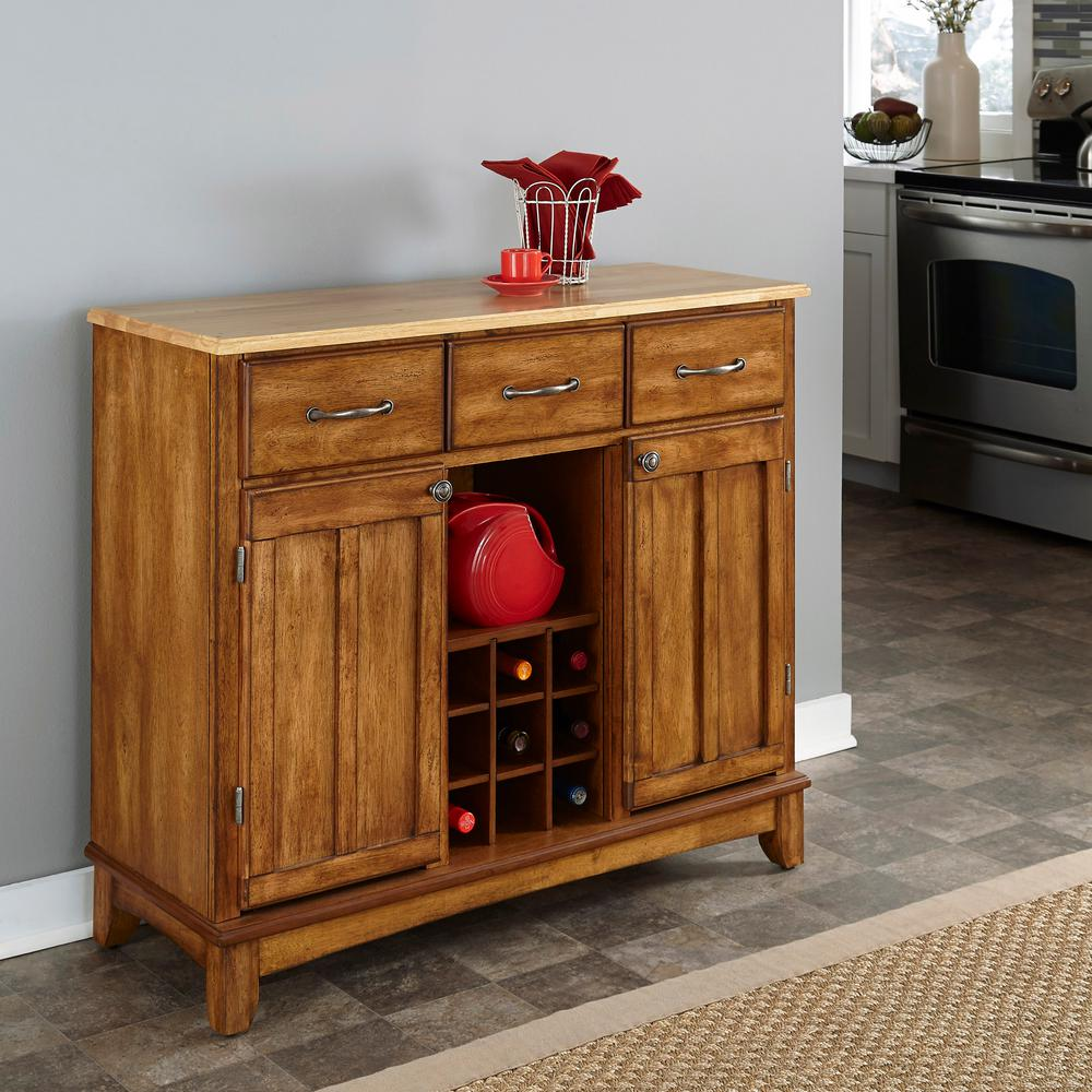 Home Styles Cottage Oak And Natural Buffet With Wine