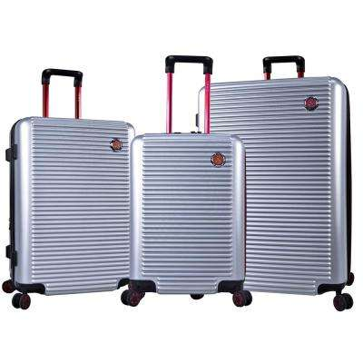 Shanghai 3-Piece Silver/Red Expandable Hardside Vertical Rolling Luggage Set