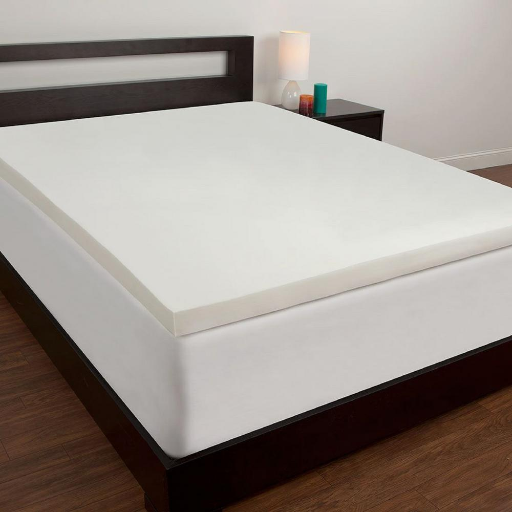 3 in. California King Memory Foam Mattress Topper, White