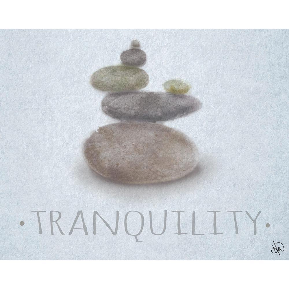 """16 in. x 20 in. """"Zen Stones Beta"""" Planked Wood Wall Art Print"""