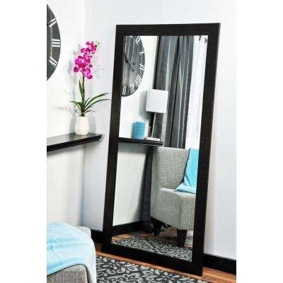 Scratched Black Tall Framed Mirror
