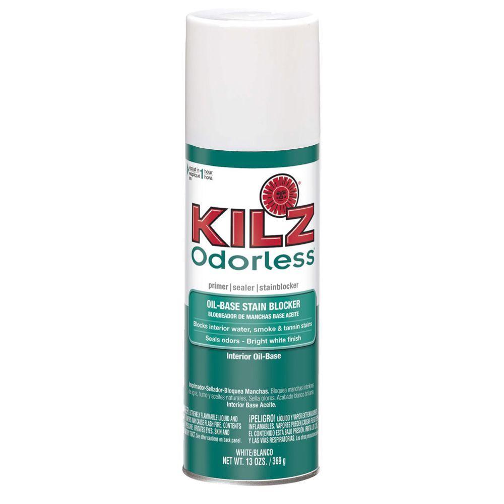kilz odorless 13 oz white oil based interior primer sealer and stain blocker aerosol 10444. Black Bedroom Furniture Sets. Home Design Ideas