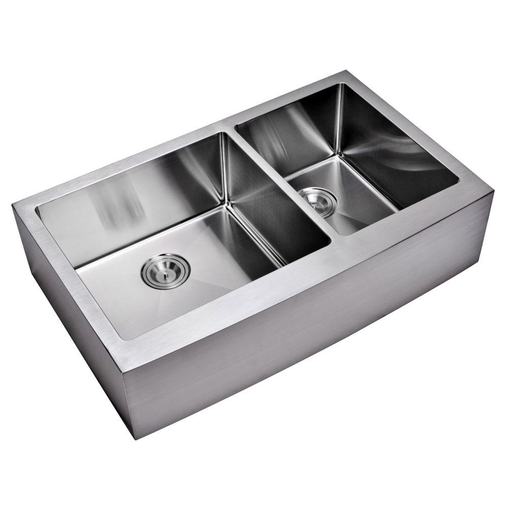 Water Creation Farmhouse Apron Front Small Radius Stainless Steel 36 In.  Double Bowl Kitchen Sink