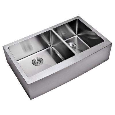 Farmhouse Apron Front Small Radius Stainless Steel 36 in. Double Bowl Kitchen Sink in Satin