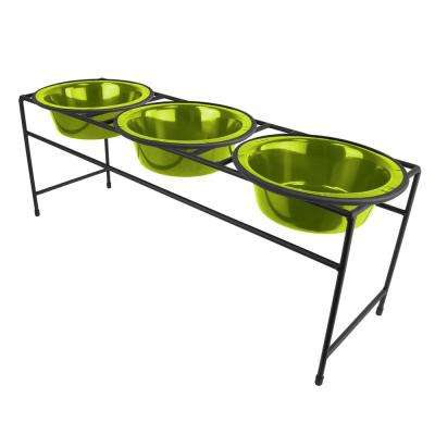 Platinum Pets Modern Triple Diner Feeder with Stainless Steel Cat/Dog Bowls, Corona Lime