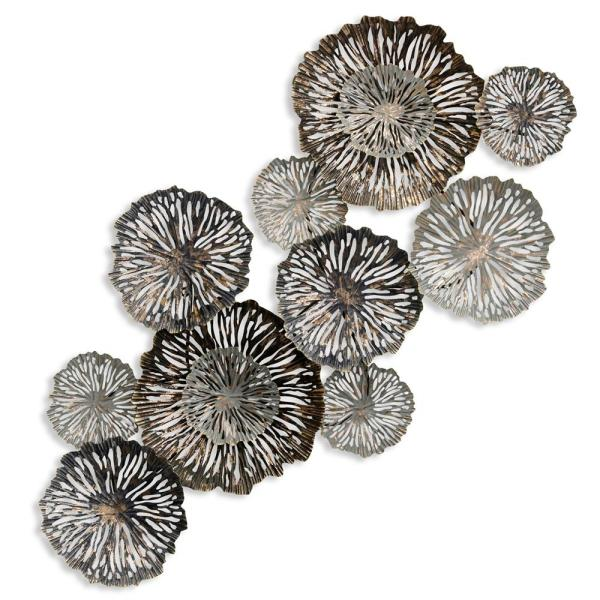 Metal Silver Floral Wall Decor