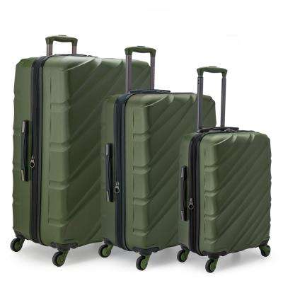 2f9eb847e67b Gilmore 3-Piece Olive Green Expandable Hardside 4-Wheel Spinner Luggage Set  with Push
