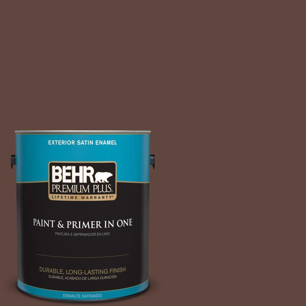 1-gal. #180F-7 Warm Brownie Satin Enamel Exterior Paint