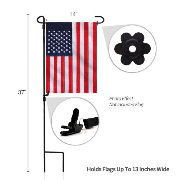 Anley 37 In X 18 In Premium Wrought Iron Garden Flag Pole Holder Weather Resistant Black Matte Coating Free Flag Stopper A Flagpole Garden The Home Depot